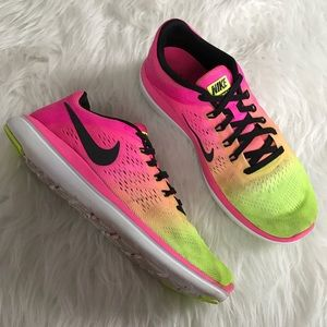Nike Shoes - Nike Pink and Volt 2016 Flex Run Running Sneakers