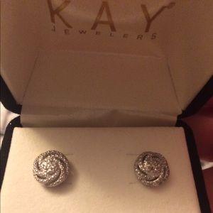 Kay Jewelers Jewelry - Sterling silver love knot earring w/diamondaccents