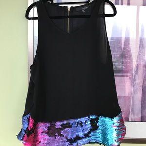 Ladakh Tops - Sequined black tank