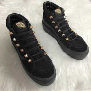 Vans Shoes - Vans Gold Stud Eyelets Black Platform Sneakers