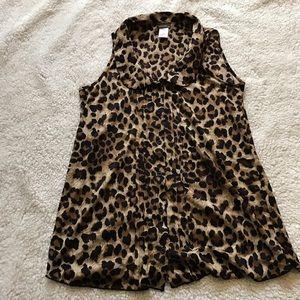 Tops - Leopard print Maternity button-up, Size Medium
