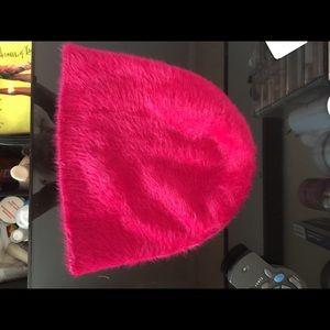 Fuzzy hot pink cap