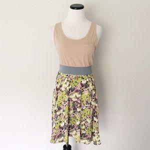 FREE PEOPLE Tan floral racerback Dress