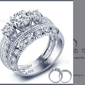 Jewelry - New 925 engagement 2 pieces  ring size 8- last one