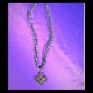 Premier Designs Jewelry - Vintage, Beaded Cross Choker/Necklace