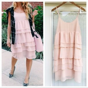 Who What Wear Dresses & Skirts - Pink Tiered Shift Dress by WHO WHAT WEAR