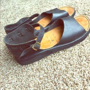Aurora Shoe Company Shoes - Black leather sandals