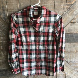 J. Crew Tops - Red J. Crew Plaid Long Sleeve Button Down