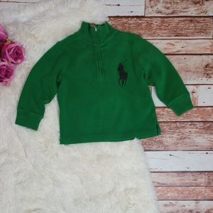 Green Polo Mock Neck Pullover Sweater