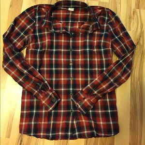 J Crew perfect shirt in red and navy plaid.
