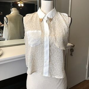 Pretty Rebellious Tops - Sheer cream and gold top!