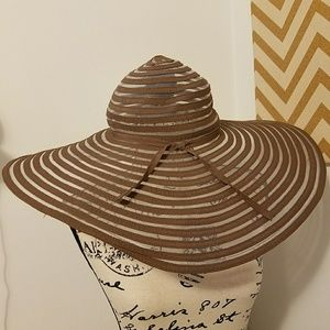 Accessories - Wide Brim Striped Semi-Sheer Sun Hat