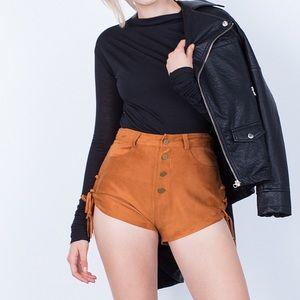Tan Suede Shorts