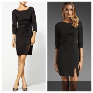Trina Turk Dresses & Skirts - Trina Turk ruched black dress with front slit