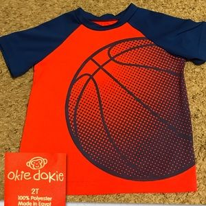 Orange & Blue T-Shirt with Basketball 🏀 on front