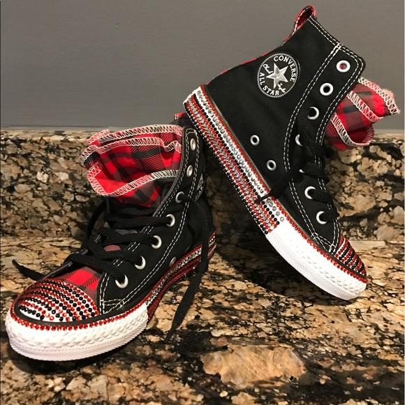43936d3aa7f39 NIB Custom Black Red Converse All Star Bling 12.5 NWT