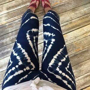 Tie Dye Leggings - Blue, Soft, Flattering - OSFM