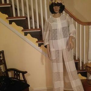 Vintage Other - Vintage White Long Cover Up Jacket
