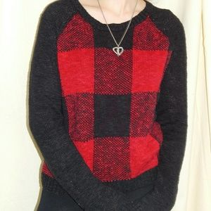 Red and Black Checkered Sweater