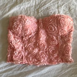 Tops - Pink floral tube top