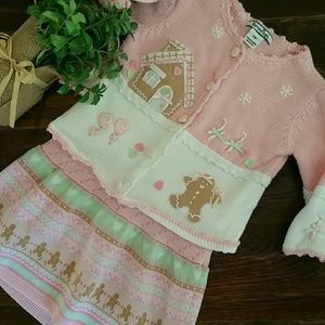 Hartstrings Other - Pink holiday sweater and skirt set