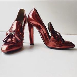 Anais Metallic Moccasin Heel