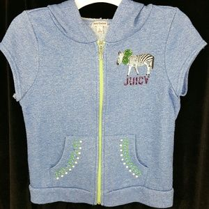 Juicy Couture Girls Zebra Sleeveless Hoodie Large