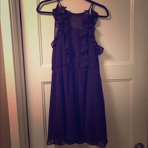 Deep purple ruffled cocktail dress