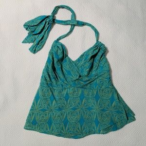 Anthropologie Turquoise Tribal Print Halter Top