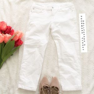 7 for all Mankind White Rolled Crop Skinny Jeans