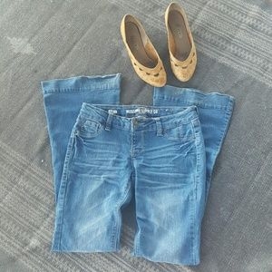 Urban Outfitters Pants - Flare bell 70s style lycra denim pants