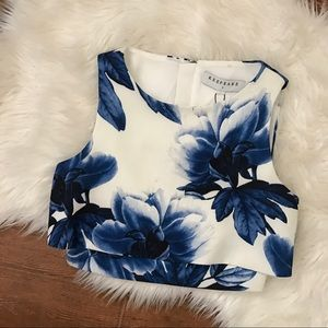 KEEPSAKE the Label Tops - Keepsake the Label Blue Floral Crop Top