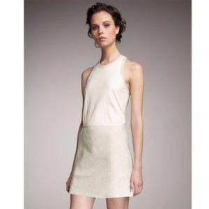 Theory tweed mini skirt with lambskin leather trim