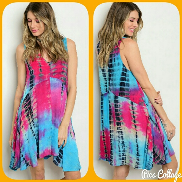 a00c7ede6495 Jewely's Justifiables Dresses | Moving Sale Pink Blue Tiedye Swing ...
