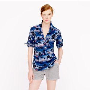 J. Crew Tops - J Crew Beach Print Pullover Button Up 🌊  2