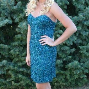 Scala Dresses & Skirts - Short prom blue sequined dress