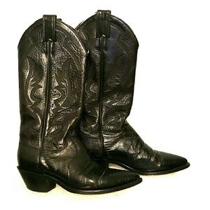 Justin Boots Shoes - Justin L4786 exotic western black lizard foot 6 C
