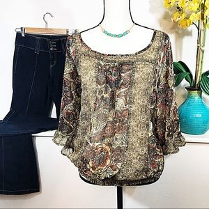 Pure Energy Tops - Beautiful Sheer Floral Boho Blouse