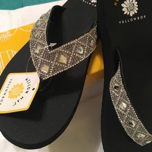 Yellow Box Shoes - Cute!  Silver Sparkle Slip-ons