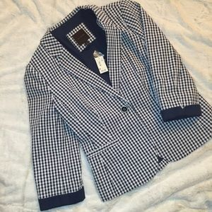 The Limited Jackets & Blazers - NWT The Limited Navy and White Checkered Blazer