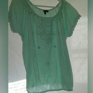 Relativity Tops - Green sparkle detailes blouse