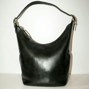 Coach Handbags - Vintage Coach Bag - black leather- brass hardware