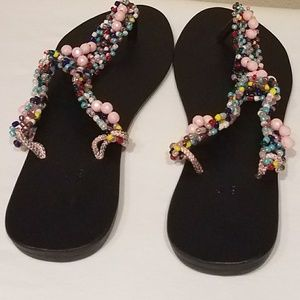 Solid Shoes - Beaded slippers