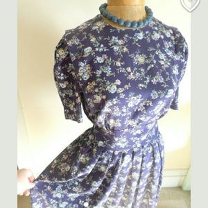 Dresses & Skirts - Vintage Retro Blue Floral Dress 1930's
