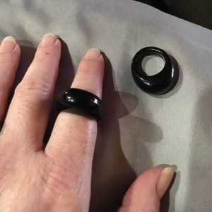 Jewelry - Natural Black Agate Gemstone Ring Size 5