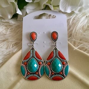 "Bedecked & Bedazzled Jewelry - ""Shaza"" Orange Turquoise Boho Statement Earrings"