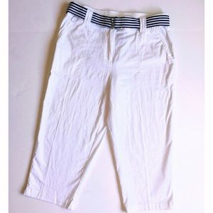 White Stag Pants - Adorable white Capri pants size 8 with belt!