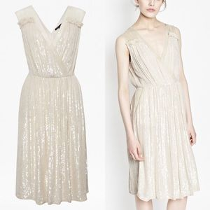 French Connection Sequin V Neck Dress