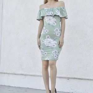 Mint + White Floral Ruffle Off the Shoulder Dress