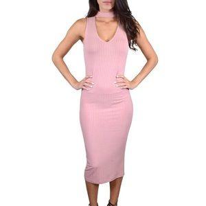 Blush Pink Ribbed Choker Detail Dress